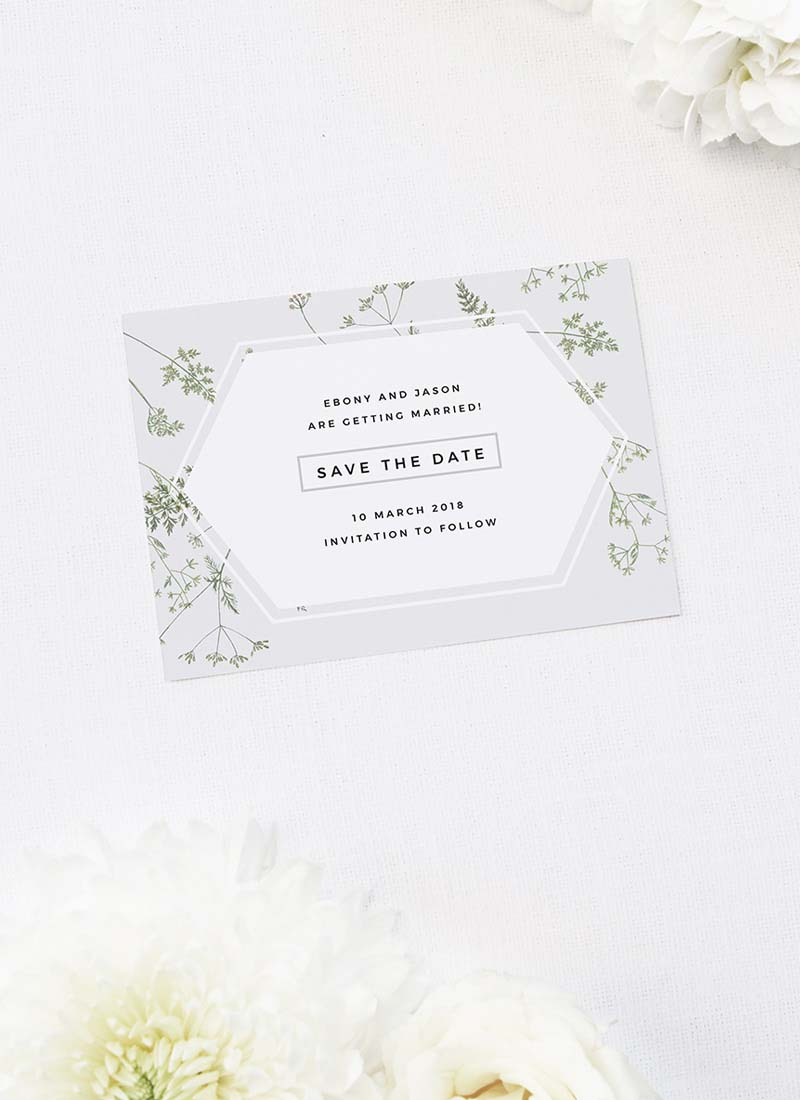 Pale Grey Modern Botanical Save the Dates Pale Grey Modern Botanical Wedding Invites