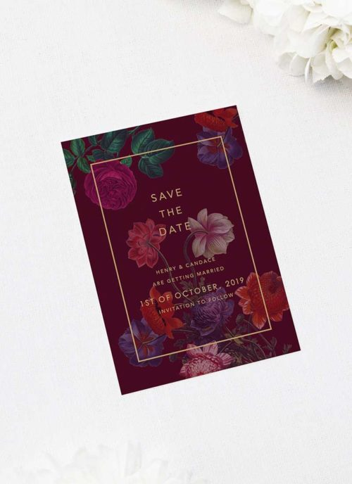 Floral Burgundy Save the Dates Marsala Love Burgundy Wedding Invitations