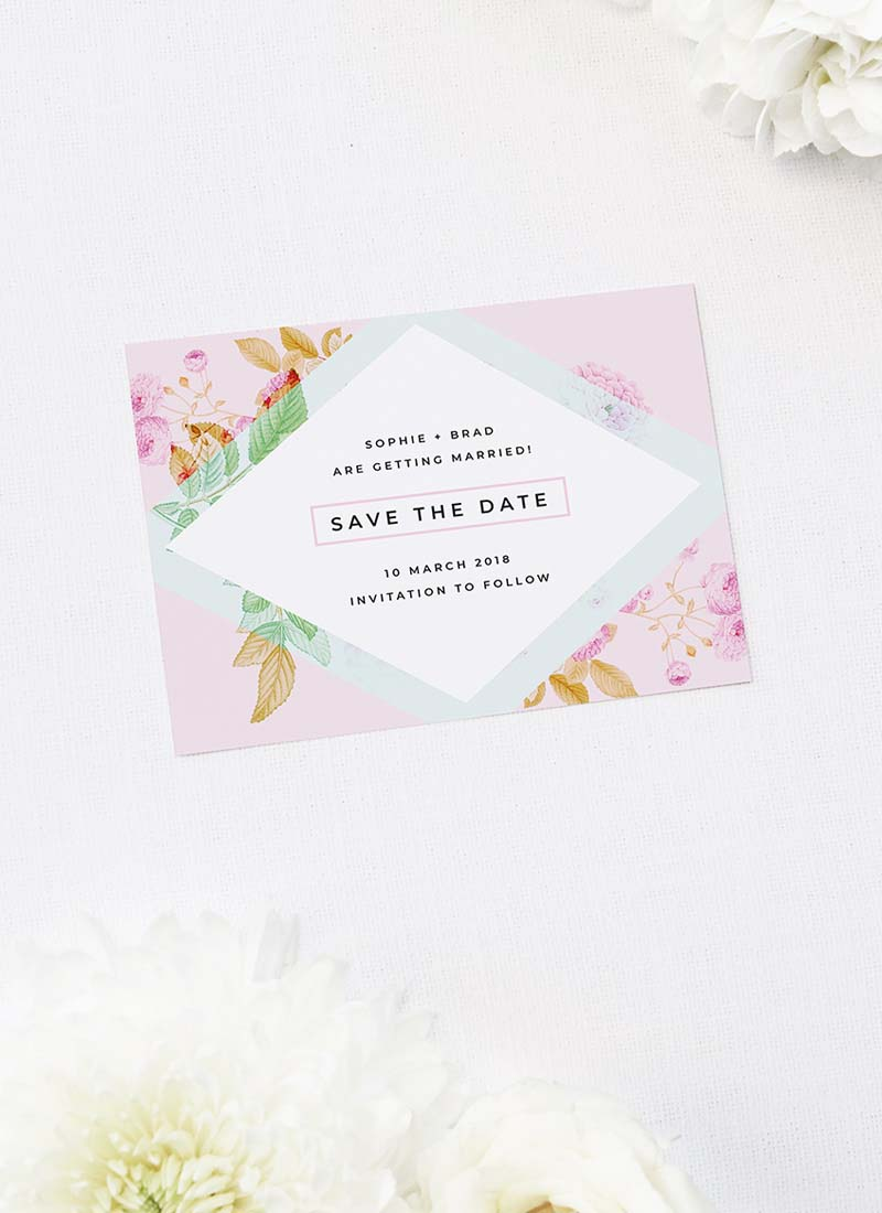 Modern Pastel Pink Blue Green Geometric Save the Dates Modern Pastel Pink Blue Green Geometric Wedding Invitations