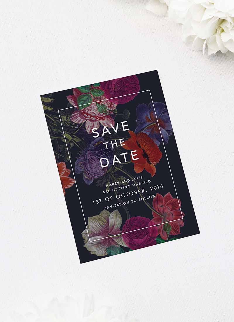 Elegant Dark Floral Save the Dates Moody Dark Floral Wedding Invitations
