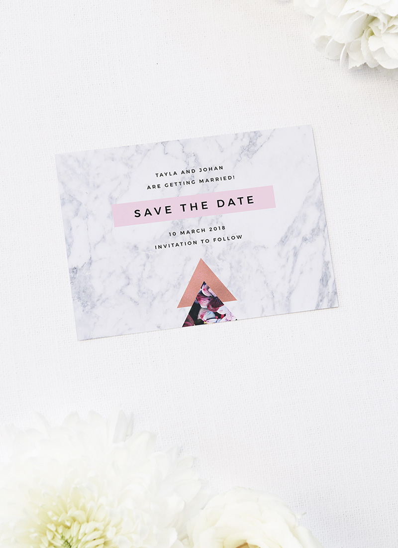 Pink Hydrangea Geometric Rose Gold Save the Dates Pink Hydrangea Geometric Rose Gold Wedding Invitations