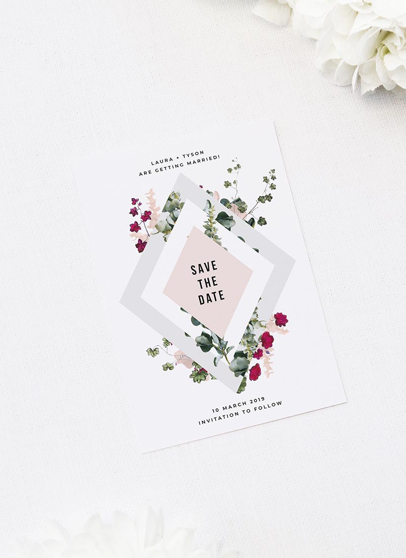 Blush Burgundy Botanical Greenery Save the Dates Blush Burgundy Botanical Greenery Wedding Invitations
