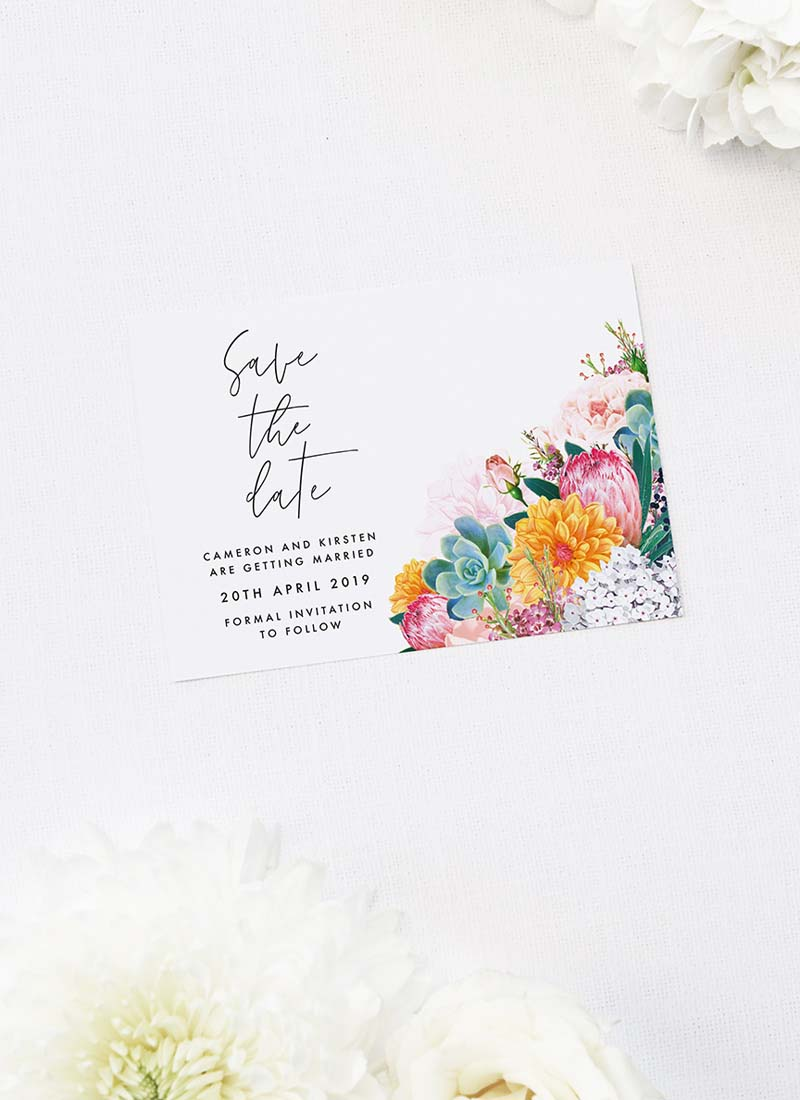 Boho Native Floral Succulent Save the Dates Boho Native Floral Succulent Botanical Bohemian Wedding Invitations