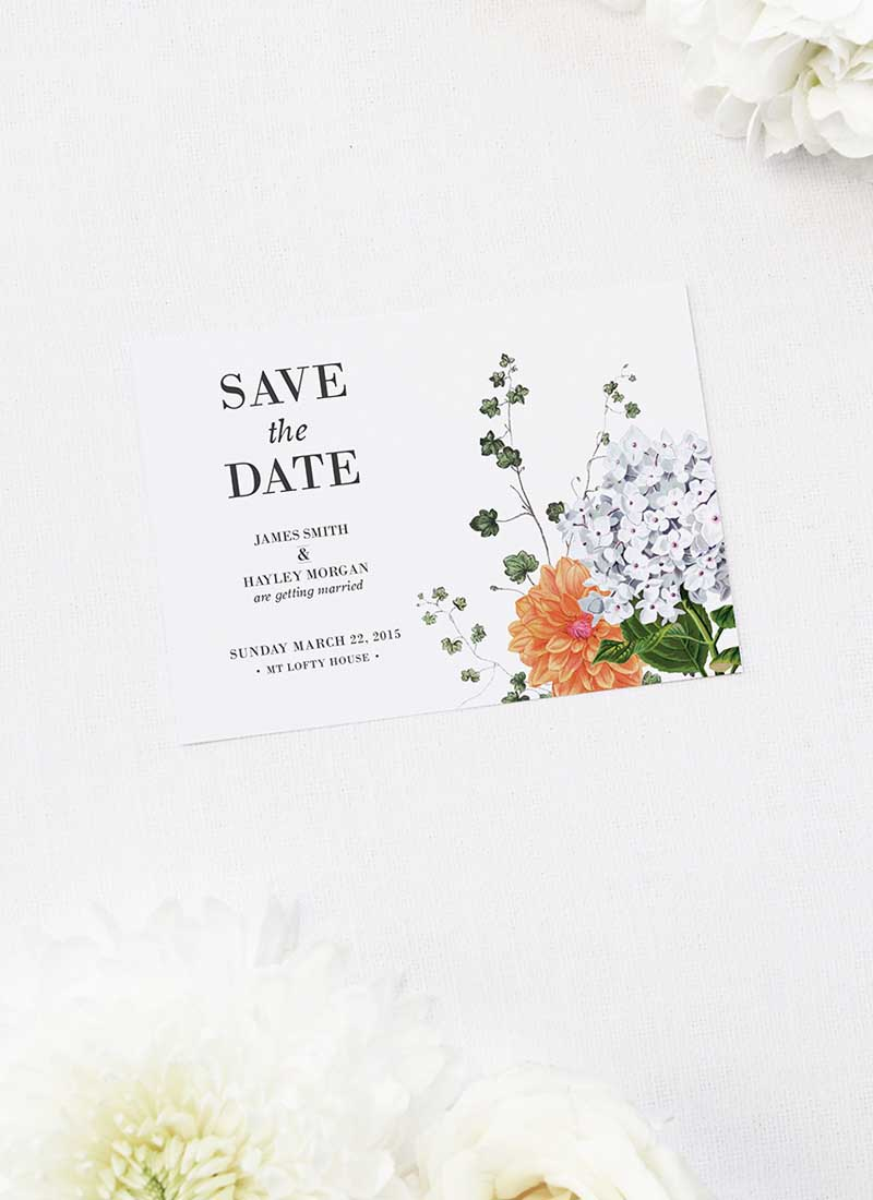 Modern Vintage Botanical Save the Dates Pink Peach Orange Botanical Wedding Invitations