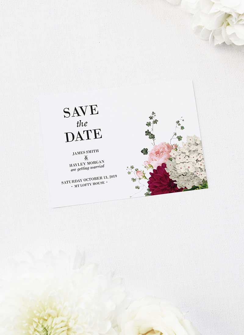 Crimson Red Floral Burgundy Save the Dates Floral Burgundy Wedding Invitations