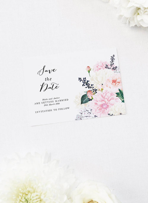 Pastel Floral Save the Dates Elegant Dahlia Pastel Floral Wedding Invitations