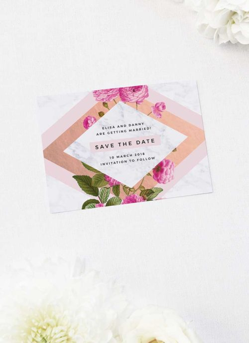 Floral Marble Pink Rose Gold Save the Dates Floral Rose Gold Foil Marble Wedding Invitations