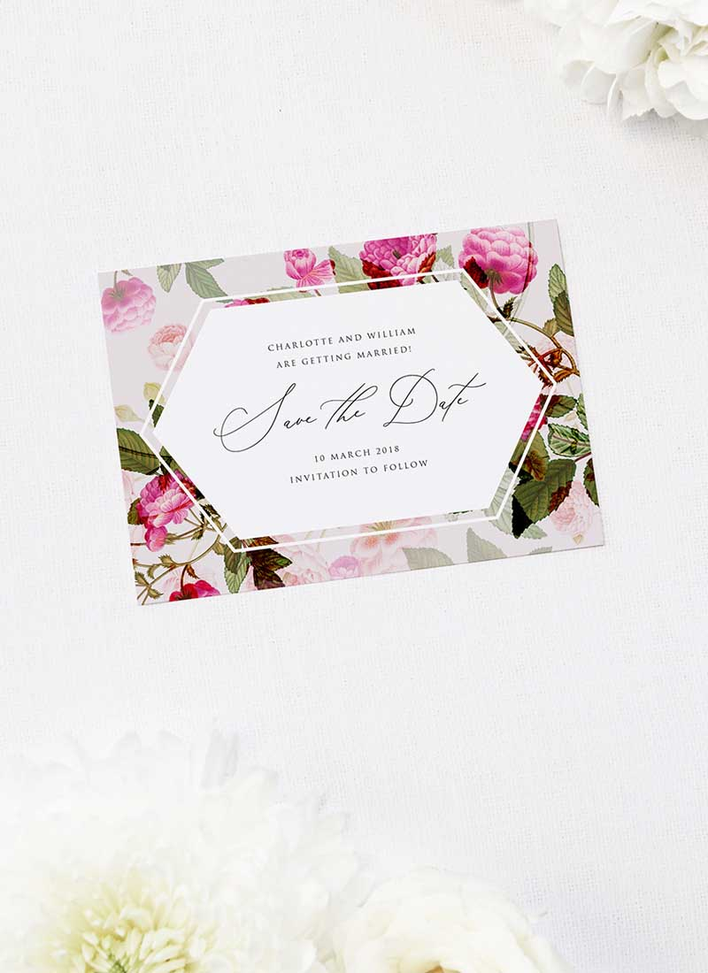 Pink Green Modern Botanical Save the Dates Pink Green Modern Botanical Wedding Invitations