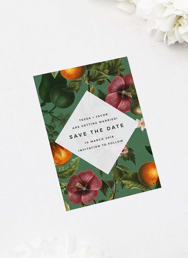 Lush Green Tropical Botanical Save the Dates Lush Green Tropical Botanical Wedding Invitations