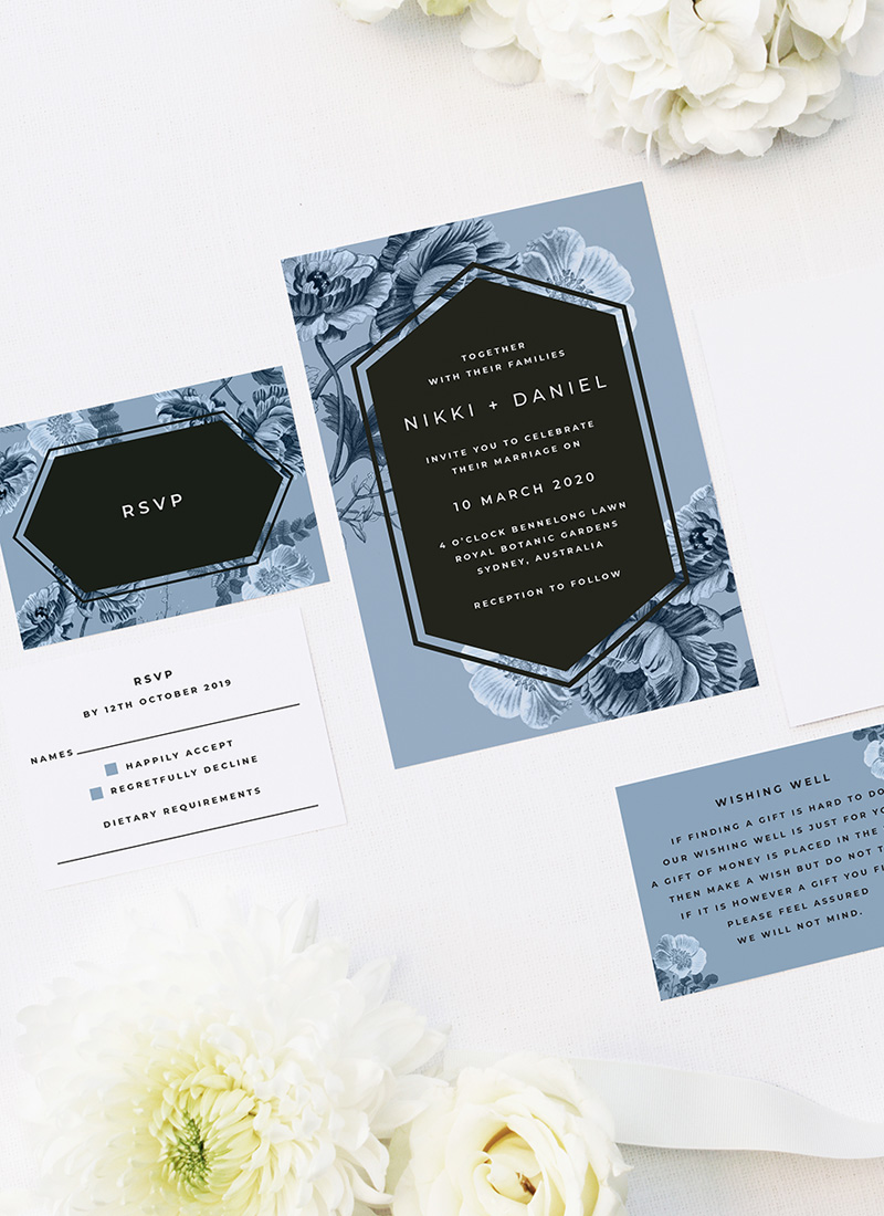 Blue Botanical Floral Wedding Invitations