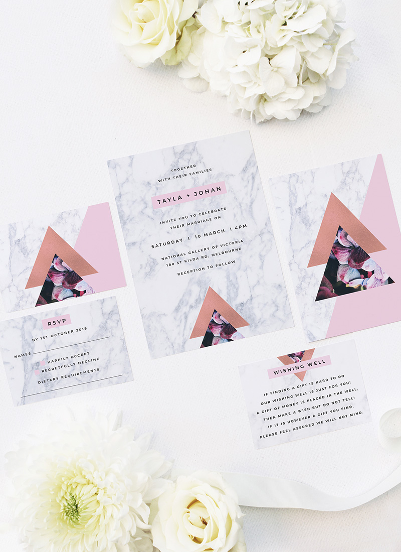 Pink Hydrangea Geometric Rose Gold Wedding Invitations