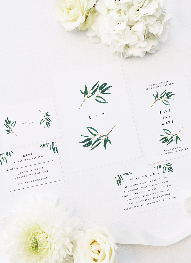 Simple Elegant Eucalyptus Green Leaves Wedding Invitations
