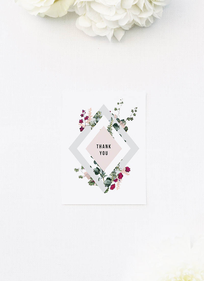 Blush Burgundy Botanical Greenery Wedding Thank You Cards Blush Burgundy Botanical Greenery Wedding Invitations