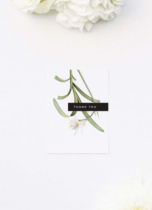 Modern Lily Flower Wedding Thank You Cards Modern Lily Flower Wedding Invitations