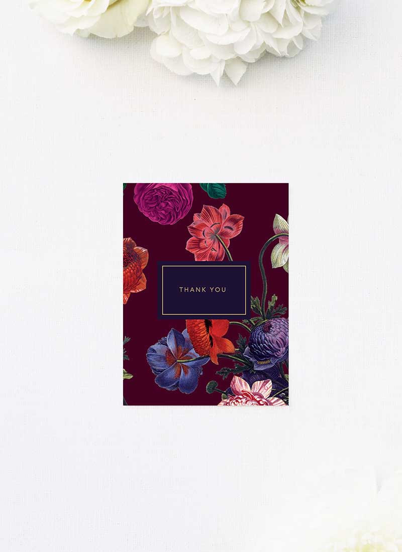 Elegant Burgundy Floral Wedding Thank You Cards Marsala Love Burgundy Wedding Invitations