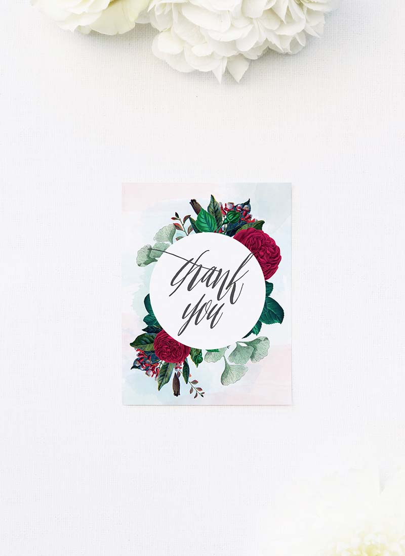 Red Burgundy Floral Wedding Thank You Cards Ruby Red Rose Burgundy Floral Wedding Invitations