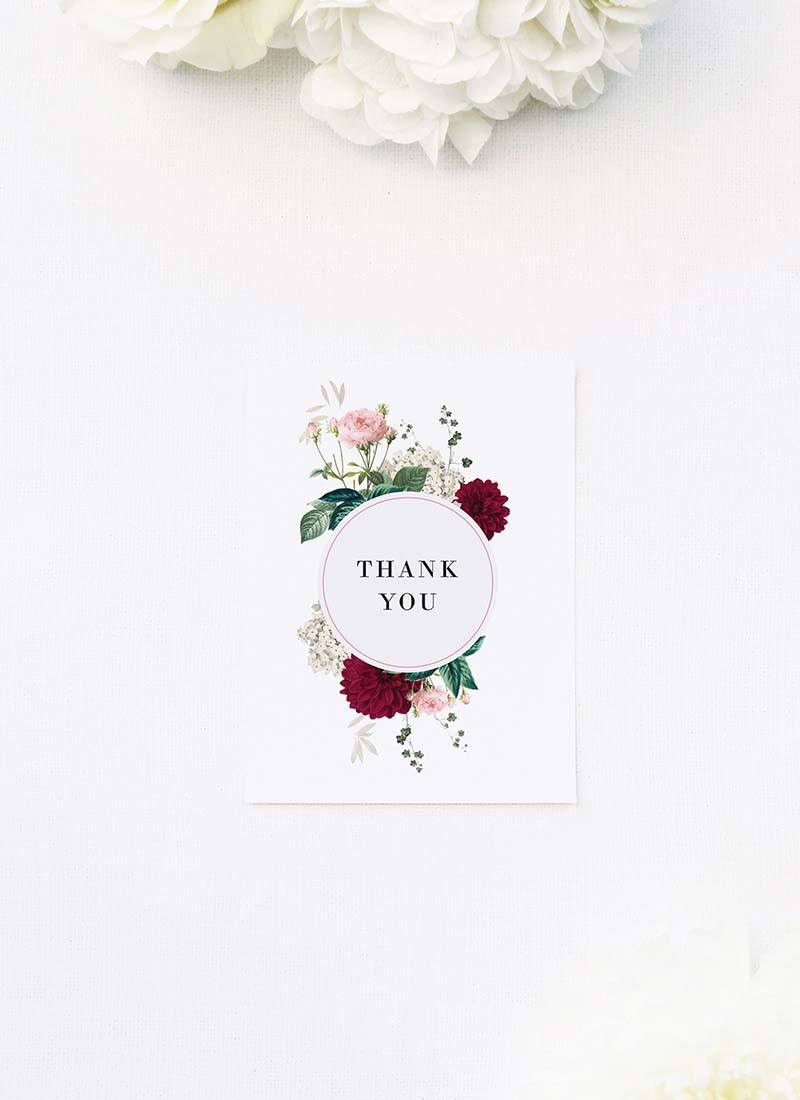 Crimson Red Floral Burgundy Wedding Thank You Cards Floral Burgundy Wedding Invitations