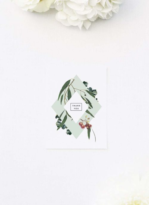 Eucalyptus Leaves Native Botanical Wedding Thank You Cards Eucalyptus Leaves Native Botanical Floral Wedding Invitations