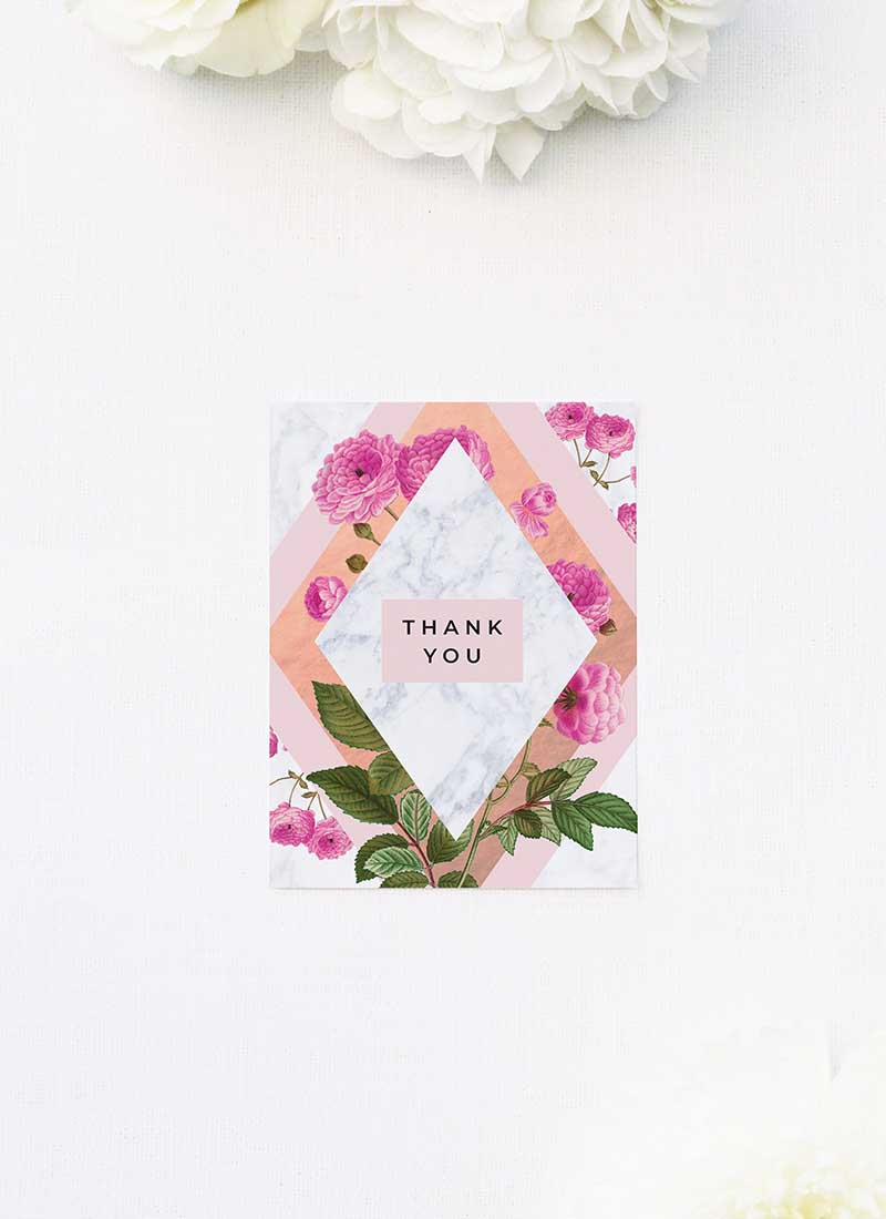Modern Pink Floral Rose Gold Wedding Thank You Cards Floral Rose Gold Foil Marble Wedding Invitations