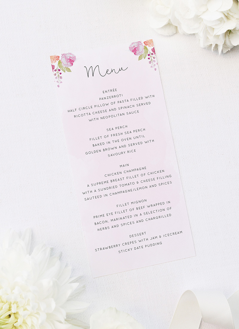 Pretty Floral Pastel Watercolour Wedding Menus Floral Wreath Pastel Watercolour Wedding Invitations