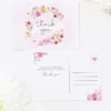 Pastel Flowers Floral Wreath Wedding Thank You Postcards Floral Wreath Pastel Watercolour Wedding Invitations