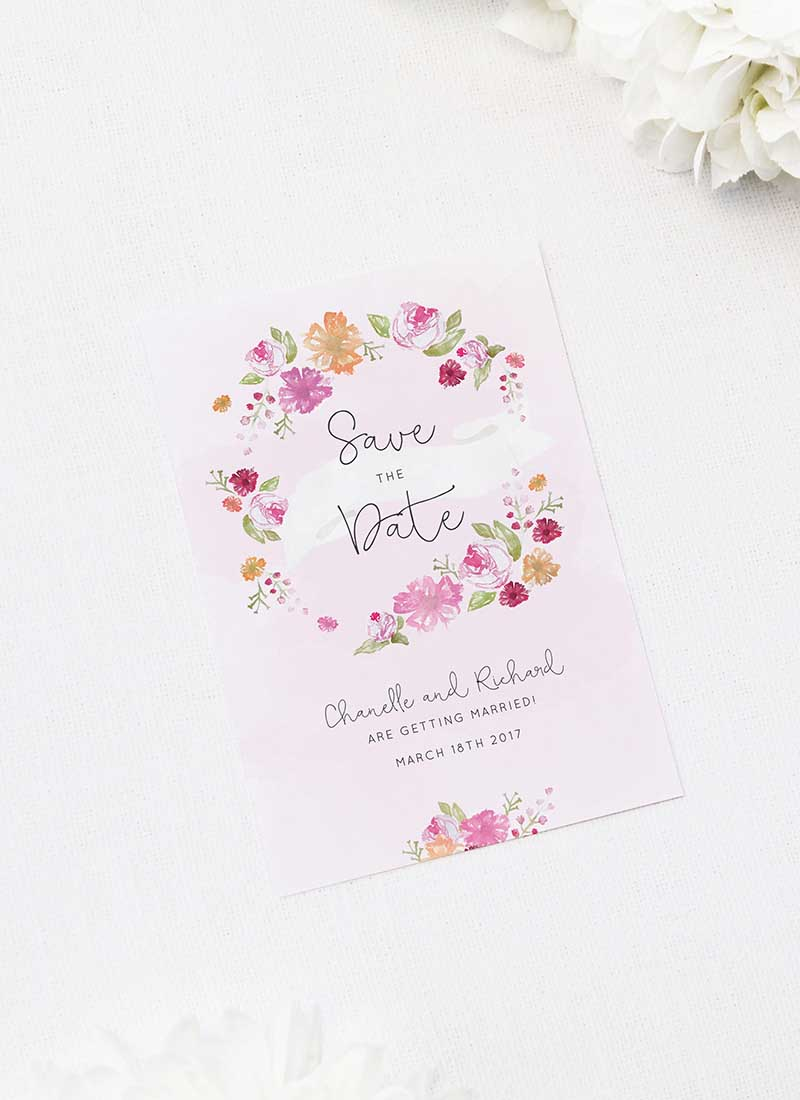 Pastel Floral Wreath Save the Dates Floral Wreath Pastel Watercolour Wedding Invitations
