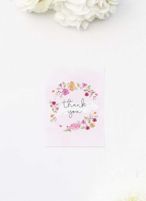 Pastel Flowers Floral Wreath Thank You Cards Floral Wreath Pastel Watercolour Wedding Invitations
