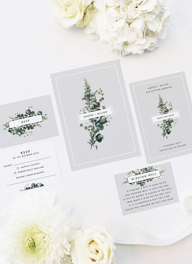 Elegant Botanical Grey White Green Wedding Invitations
