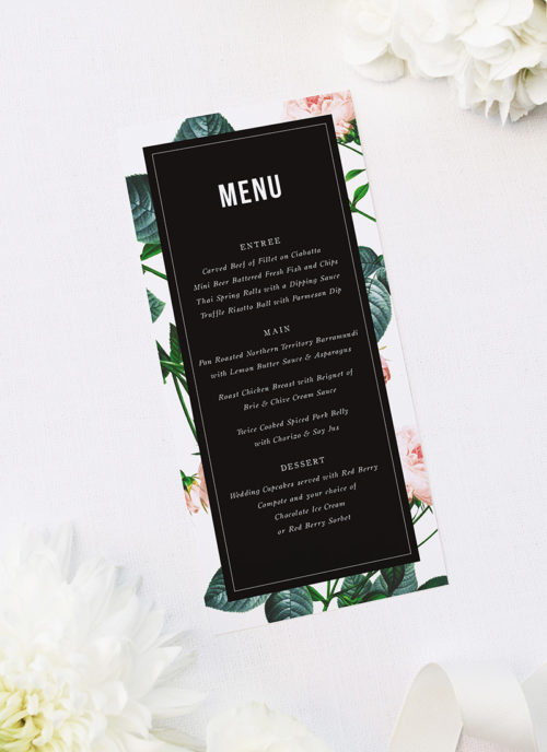 Modern Vintage Rose Wedding Menus Modern Rose Wedding Invitations