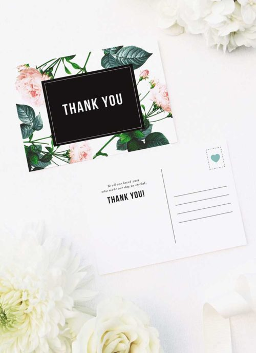Modern Sophisticated Rose Wedding Thank You Postcards Modern Rose Wedding Invitations
