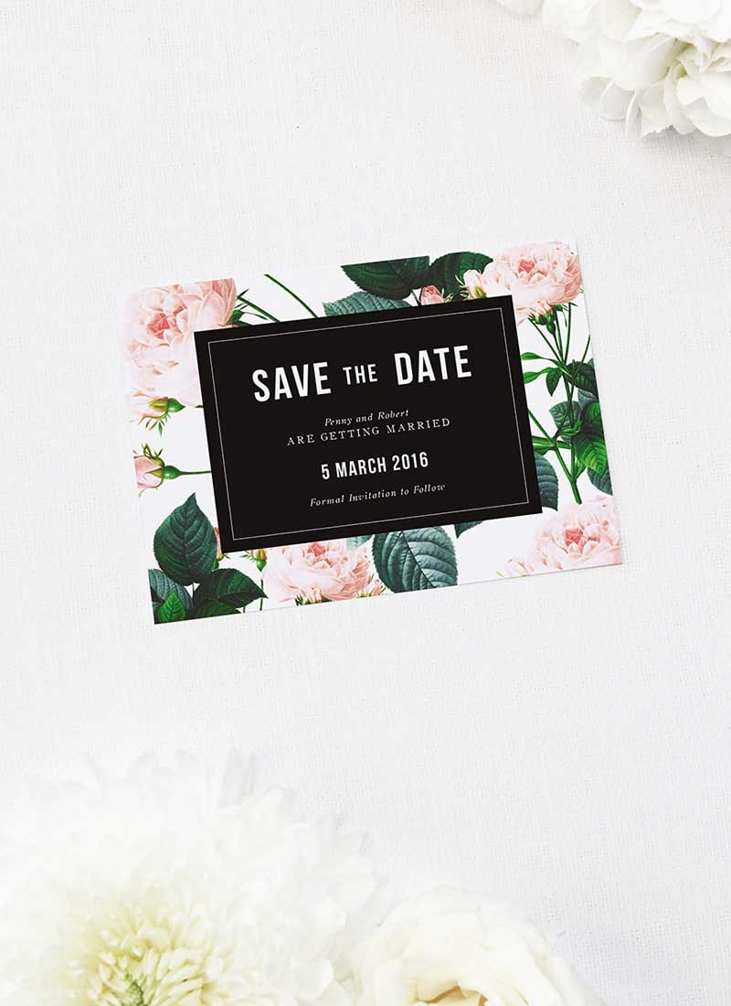 Modern Vintage Rose Save the Dates Modern Rose Wedding Invitations
