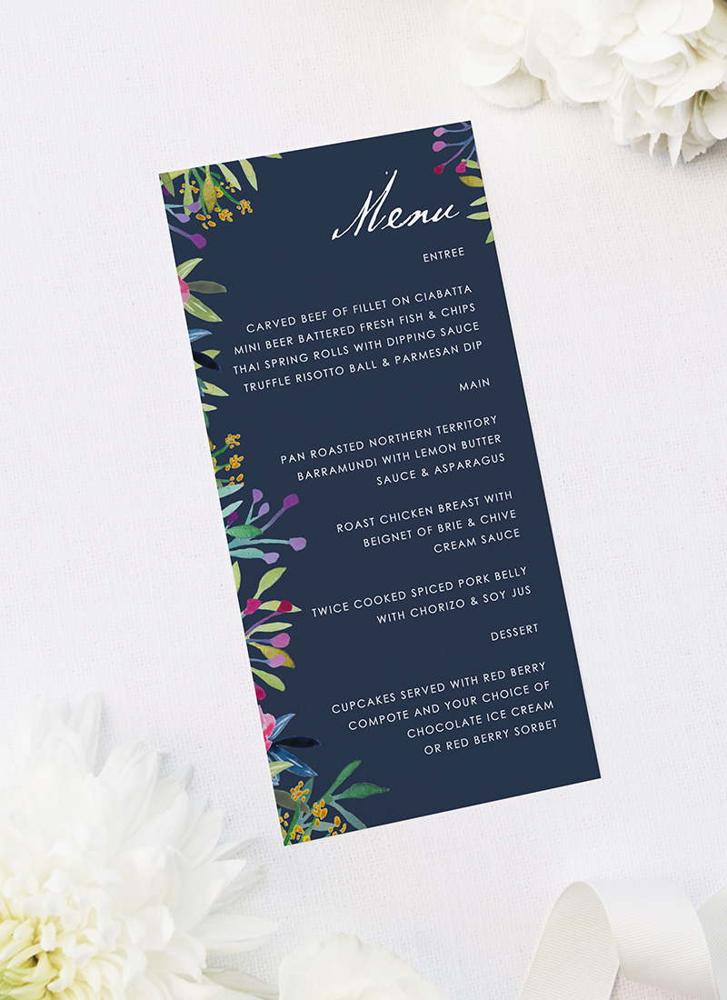 Floral Pink Navy Watercolour Wedding Menus Floral Navy Wedding Invitations