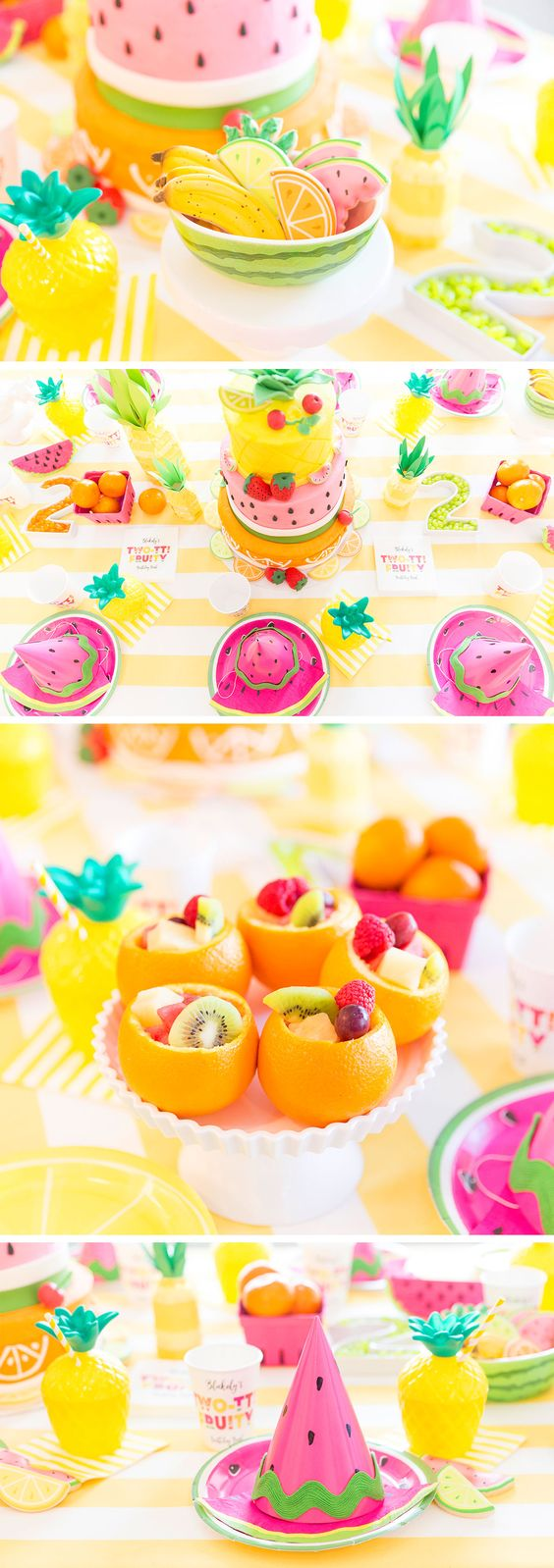 tropical party ideas inspiration styling decorating decorations event flamingo pineapple monstera fruit sail and swan blog