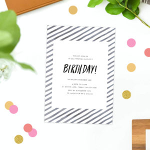 black and white birthday invitations watercolour stripe modern brush script trendy classy simple clean birthday invites australia perth sydney melbourne brisbane sail and swan