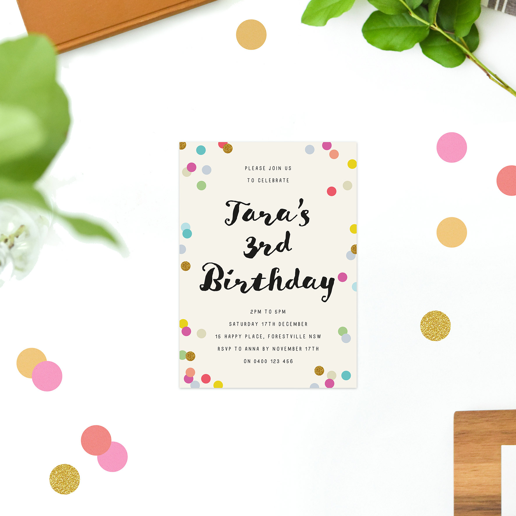 Colourful Confetti Kids Birthday Invitations Kids Invites Australia Perth Melbourne Sydney Brisbane Canberra Sail and Swan Pink red Yellow Blue