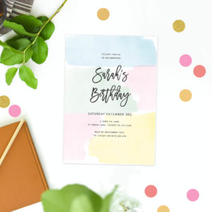 Pastel Birthday Invitations Pink Yellow Blue Green Mint Calligraphy Script Birthday Invites Australia Melbourne Perth Sydney Canberra Brisbane Sail and Swan