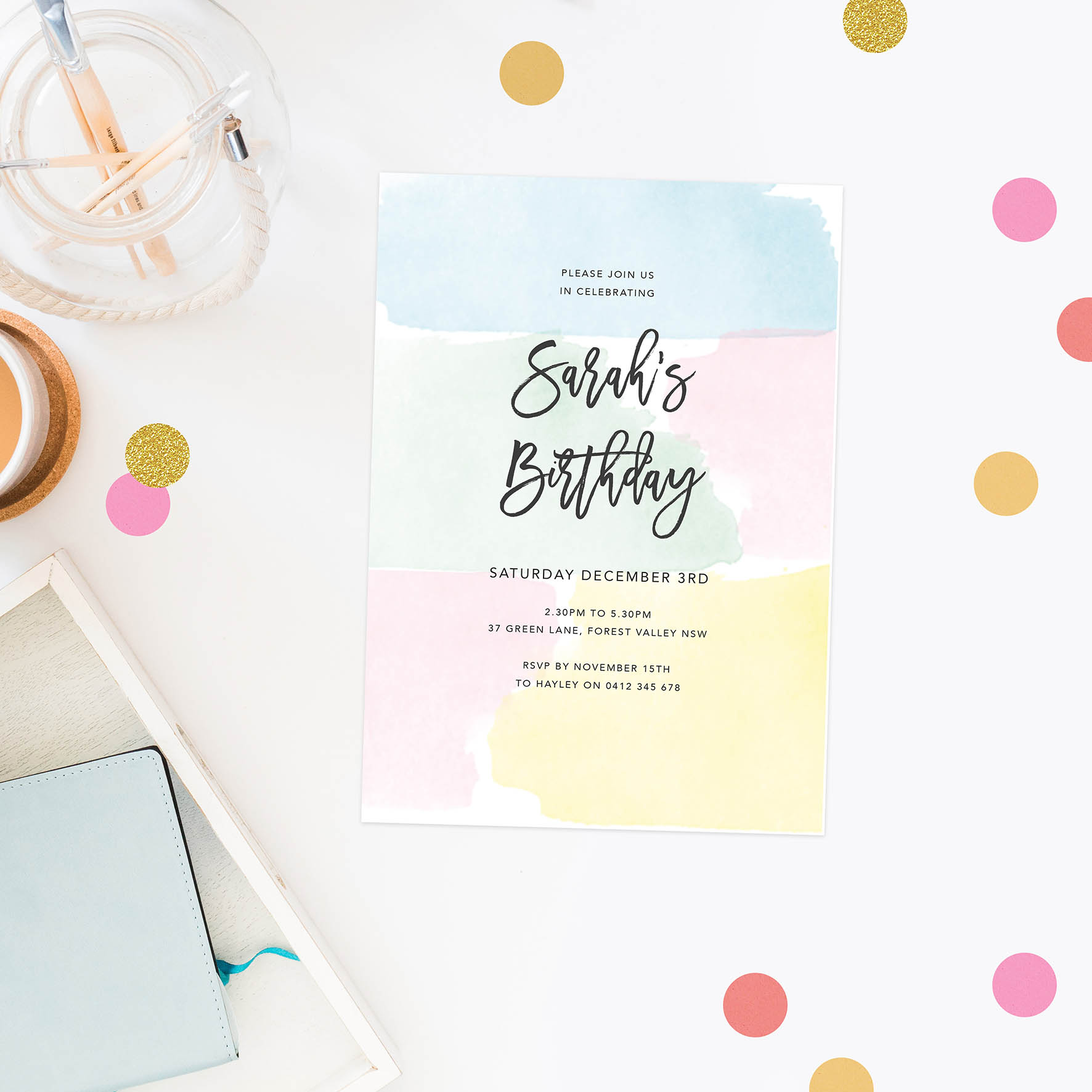 pastel invitations girls birthday kids invites watercolour pink blue green yellow australia perth sydney brisbane melbourne canberra sail and swan