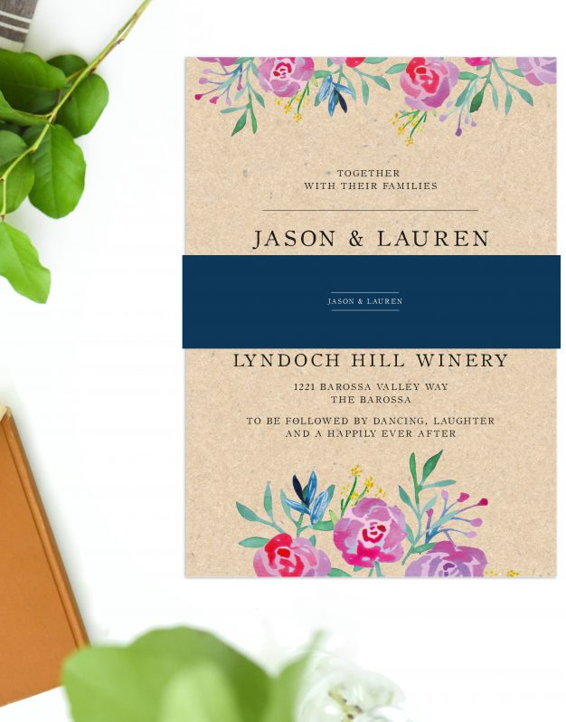 Rustic Floral Wedding Invitations Brown Kraft Wedding Stationery Australia Perth Sydney Adelaide Brisbane Melbourne Sail and Swan