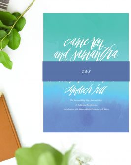 Turquoise Beach Wedding Invitations Blue Green Watercolour Wedding Invites Australia Perth Sydney Melbourne Brisbane Adelaide Sail and Swan