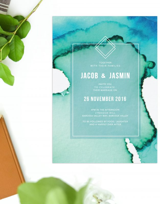 Turquoise Abstract Wedding Invitations Blue Turquoise Green Ocean Wash Watercolour Modern Wedding Invitations Australia Wedding Stationery Melbourne Perth Sydney Brisbane Adelaide Sail and Swan