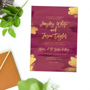 Burgundy Wedding Invitations Gold Brush Leaf Red Marsala Wedding Invites Australia Perth Sydney Melbourne Brisbane Adelaide Sail and Swan