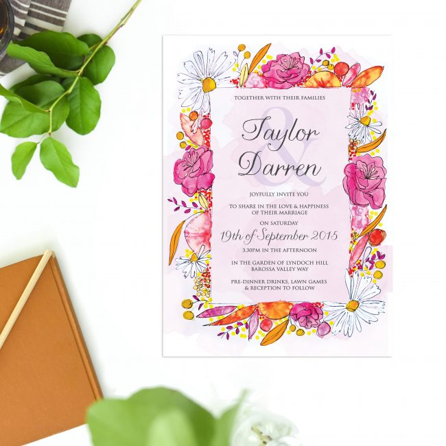Watercolour Flower Wedding Invitations Australia Wedding Stationery sydney perth brisbane melbourne adelaide sail and swan