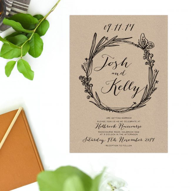 Brown Kraft Wedding Invitations Native Flora Butterly Florals Hadn Drawn Rustic Wedding Invites Australia Perth Sydney Melbourne Brisbane Adelaide Sail and Swan