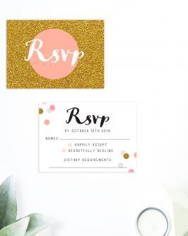 Confetti Wedding Invitations pink peach gold glitter wedding stationery australia perth sydney melbourne brisbane adelaide sail and swan