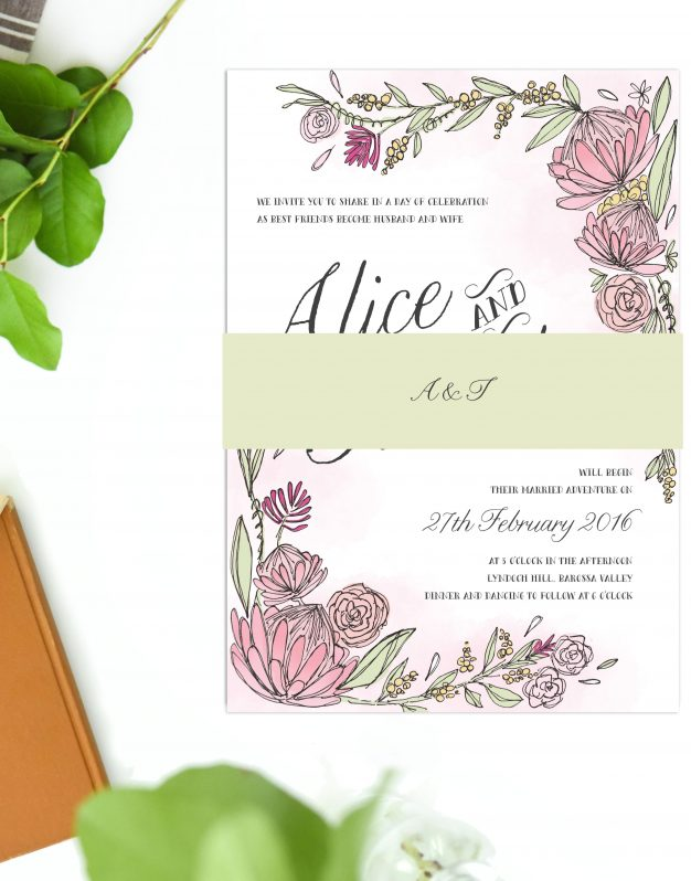 Hand Drawn Floral Wedding Invitations Australia Protea Native Flora Wedding Stationery Perth Sydney melbourne Brisbane Adelaide Sail and Swan