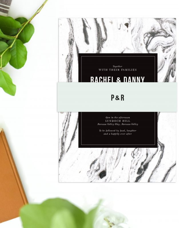 Marble Wedding Invitations Black White Grey Swirl Modern Wedding Invites Australia Perth Sydney Melbourne Brisbane Adelaide Sail and Swan