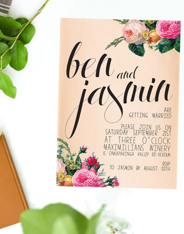 Vintage Rose Wedding Invitations Australia Wedding Stationery Perth Sydney Brisbane Melbourne Adelaide Sail and Swan