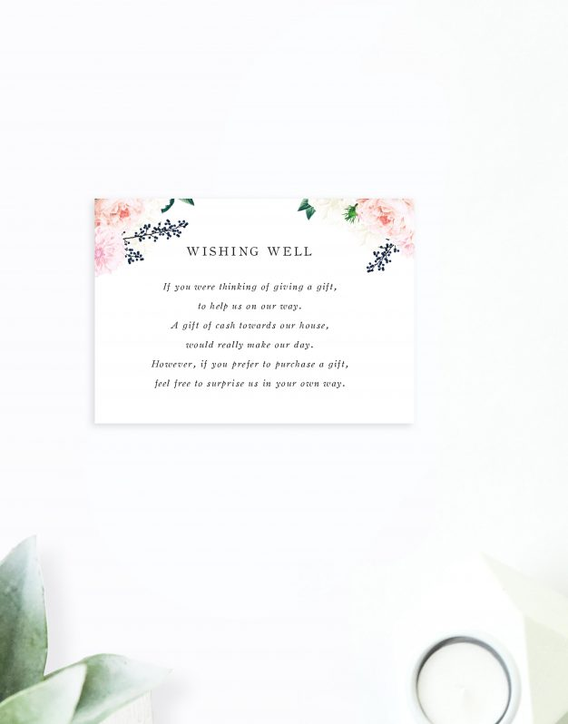 Pastel Floral Wedding Invitations Vintage Botanical Pink Navy berries Wedding Stationery Australia Perth brisbane Sydney Melbourne Adelaide Sail and Swan