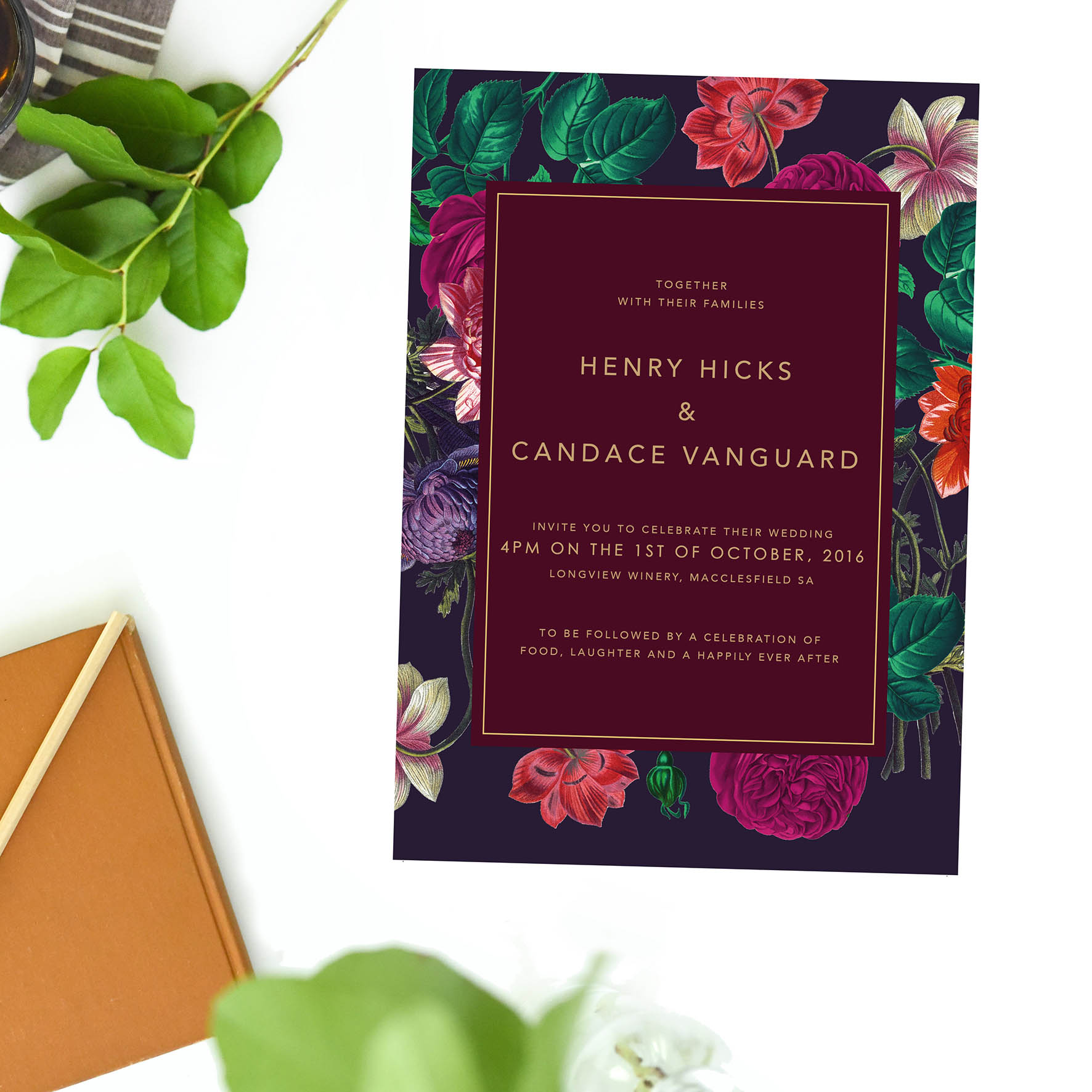 burgundy floral wedding invitations vintage botanical floral wedding invites australia sydney perth brisbane melbourne adelaide sail and swan wedding stationery studio pink red burgundy marsala purple contemporary