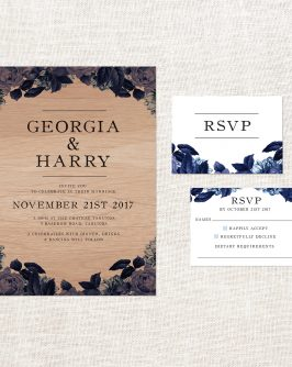 Blue Voilets Wooden Wedding Invitations Blue Roases Florals Garden Wedding Botanical Something Blue Romantic Custom Wedding Stationery Australia Sail and Swan Wood Grain Natural Flora